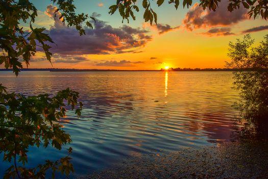 озеро, закат, деревья
