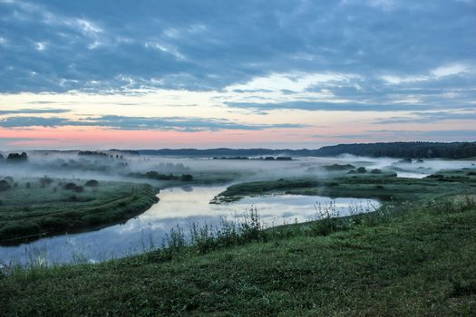 morning, sunrise, summer, Pushkin Hills, Russia, DAWN, small river, fog, grass, sky, clouds, trees, bush, nature, landscape