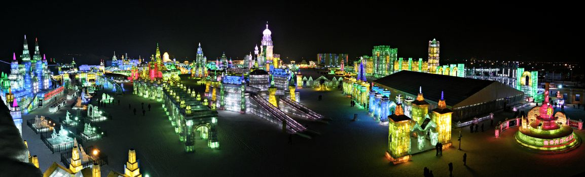 Ice festival, Harbin, China, panorama