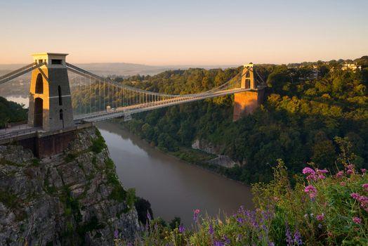 Clifton Suspension Bridge, Avon Gorge, Clifton, Bristol, england, River Avon, Clifton Suspension Bridge, Eyvonskoe Gorge, Clifton, Bristol, England, River Avon, bridge, river, Flowers, panorama