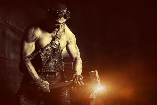 guy, hunky, glasses, Sledgehammer, hammer, metal