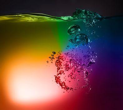 rainbow water, water, LIQUID, colored water