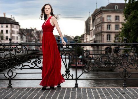 model, Red Dress, dress, style, bridge