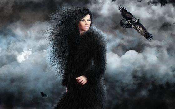 girl, crow, art