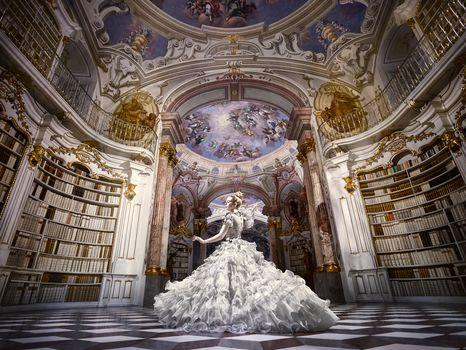 girl, dance, dress, hall, library, Books, mood