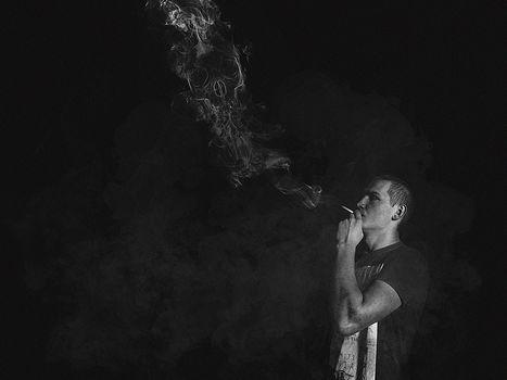 Cigarette, smoke, boredom, guy