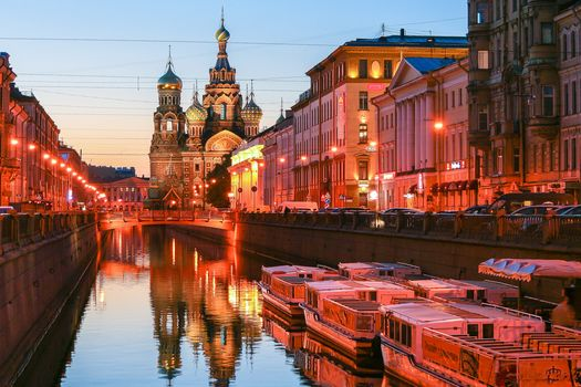 Church of the Saviour on Spilled Blood during the White Nights in St. Petersburg, Russia, home, lights