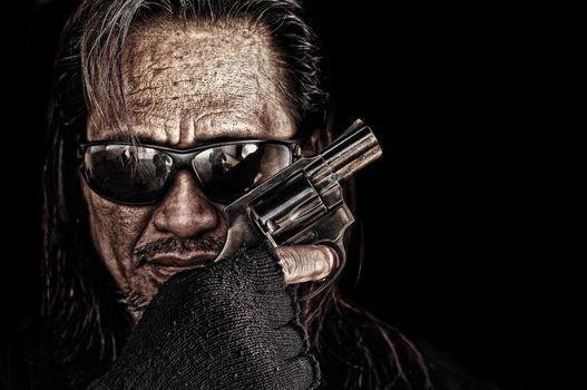 muzhik, face, glasses, revolver, weapon, hand