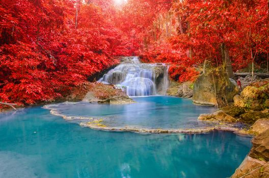 seasons, Autumn Waterfalls Thailand, Parks Erawan, waterfall Nature, autumn, waterfall, pond, Rocks, trees, nature