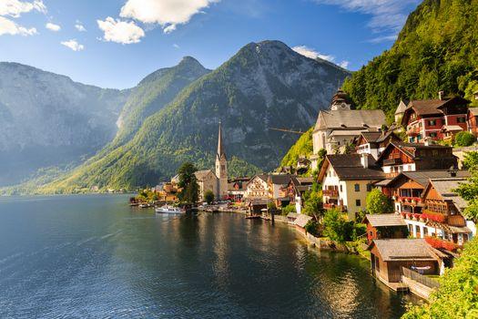 Hallstatt, Austria, Lake Hallstatt, Alps, Hallstatt, Austria, Lake Hallstatt, Alps, lake, Mountains, home