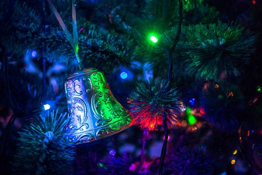 Christmas tree, Garlands, lights, Toys, bell
