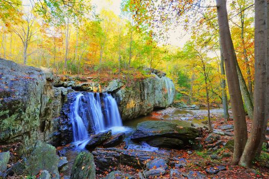 autumn, waterfall, Rocks, trees, nature, Kilgore Falls, Maryland, autumn