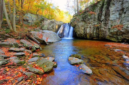 autumn, waterfall, Rocks, trees, nature, Kilgore Falls, Maryland, autumn