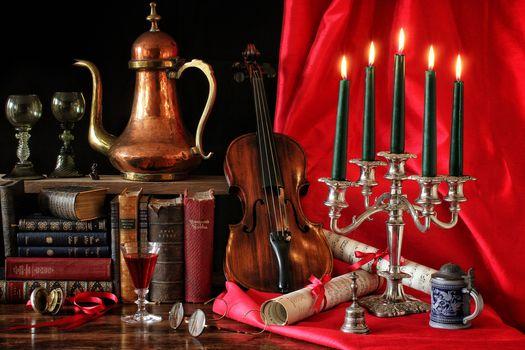still life, violin, Books, Candles, candlestick, music, wineglass, wine, glasses