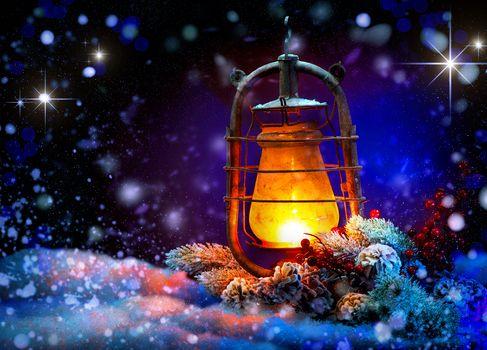 Christmas Wallpaper, Christmas lights, snow