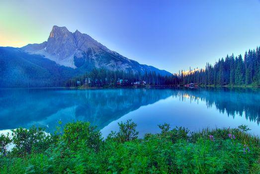Emerald Lake, morning, Yoho, Canadian Rockies, lake, Mountains, landscape