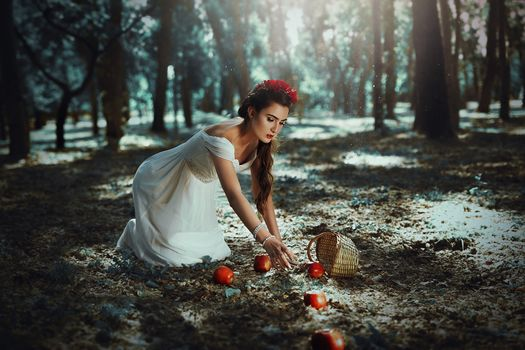 Tuti Chirstopher, girl, apples, basket, forest, situation