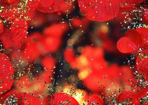 TEXTURE, Texture, shine, tinsel, bokeh, Rhinestones, gilding, shine, black background, leaves, foliage, red