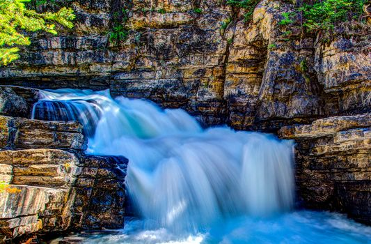 Small waterfall along Johnston Creek, Banff National Park, Alberta, Canada
