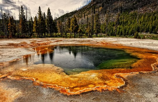 Colorful Water Pond at Yellowstone, Yellowstone National Park, landscape