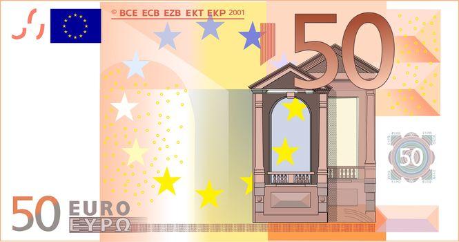 money, euros, bill, note, finance, currency, vector, gate, Europe, 50, Renaissance, orange