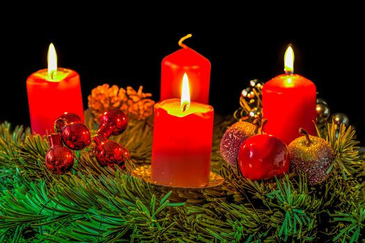 New Year, Christmas, Christmas Wallpaper, Candles, flame, fir-tree