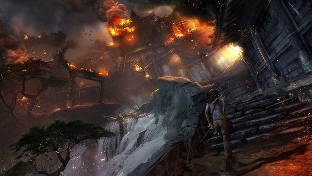 Tomb Raider, Lara Croft, Asia, village, fire, Art