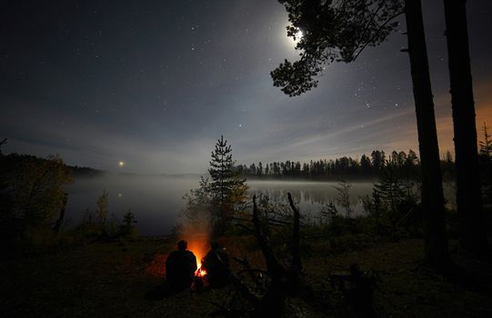 night, Star, BONFIRE, people, trees, forest, lake, water, sky, moon, space, romance, journey, Priozersk District, Leningrad region, Russia, nature, landscape