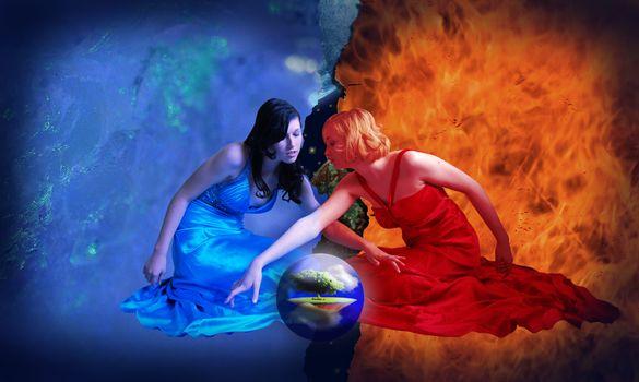 Girls, fire, water