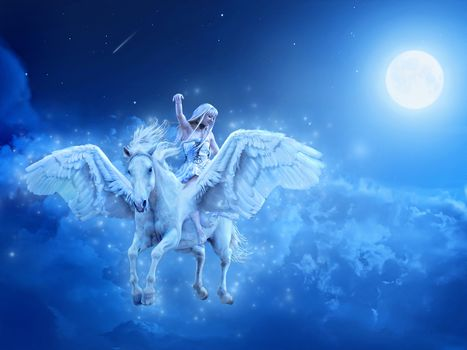 girl, horse, Pegasus, night, fantasy