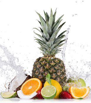 Fresh fruit with water splash, fruit, spray, tsytrusy