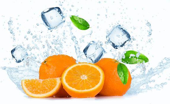 Fresh fruit with water splash, fruit, spray, ice, tsytrusy