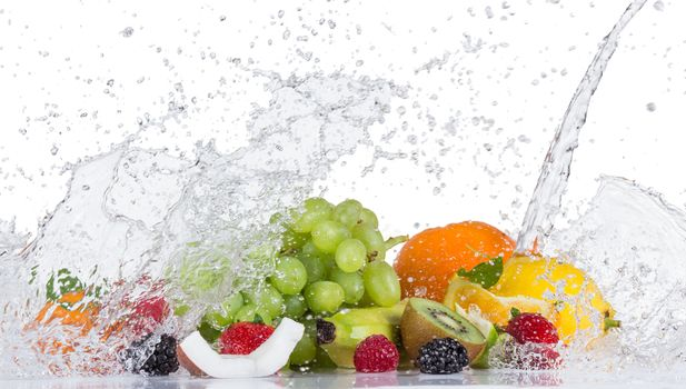 Fresh fruit with water splash, fruit, spray