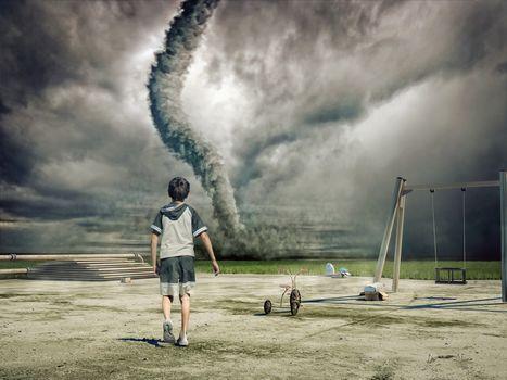 Tornado, field, guy, art