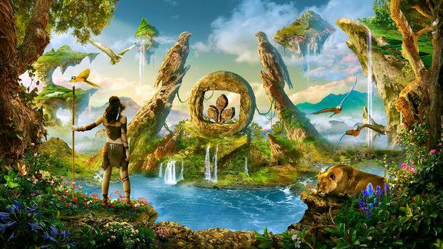 paradise, waterfalls, Parrots, island, lioness, woman-warrior, fantasy