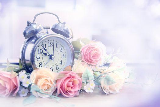 alarm clock, watch, Flowers, Roses