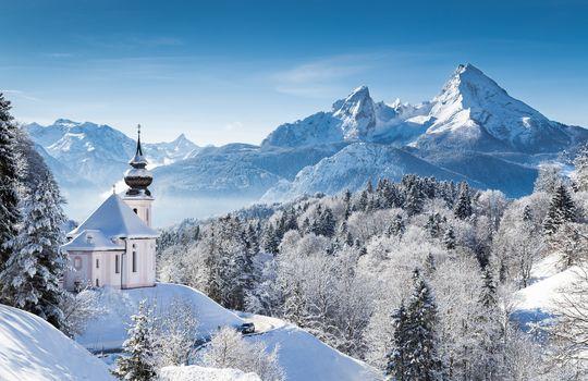 Berchtesgaden National Park, Pilgrimage Church of Maria Gern, Berchtesgaden, Bavaria, Germany, Bavarian Alps, Mount Watzmann, Berchtesgaden National Park, Pilgrimage Church Maria Gern, Berchtesgaden, Bayern, Germany