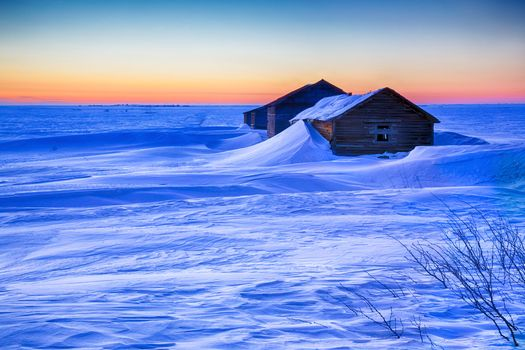 sunset, winter, home, snow, drifts, landscape