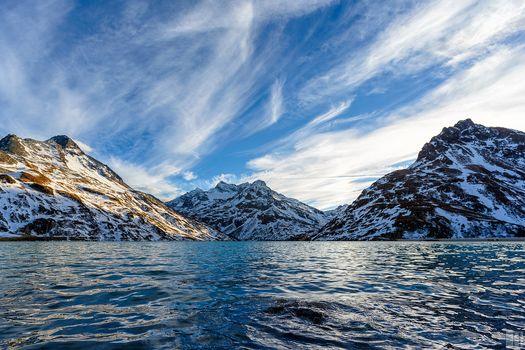 Mountains, sea, sky, snow, vertices