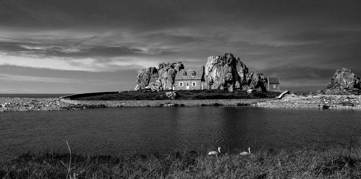 pond, shore, home, Rocks, black and white, Mono