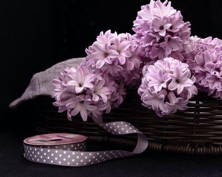 Hyacinths, braid, basket