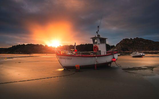 boat, shore, sunset