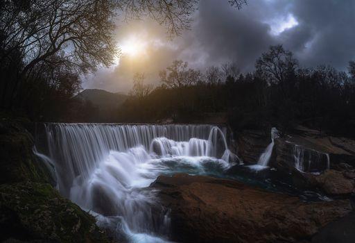 waterfall, sun, sky, stones