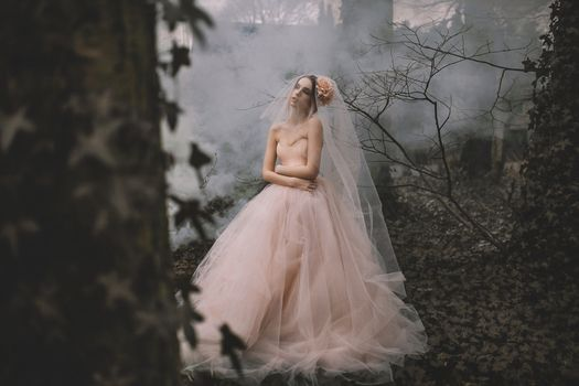 Lauren Hallworth, bride, Wedding Dress, dress, veil, forest, mood, situation