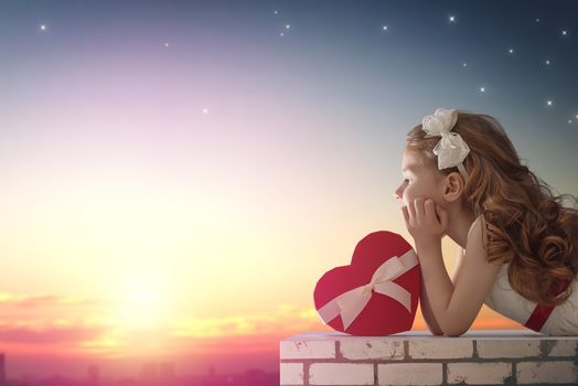 girl, curls, gift, heart, starry sky, mood, holiday
