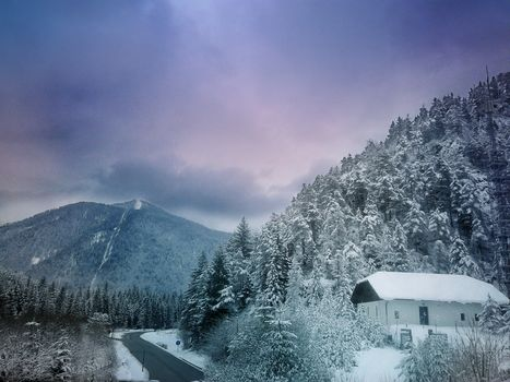 sunset, winter, road, Mountains, trees, cabin, landscape