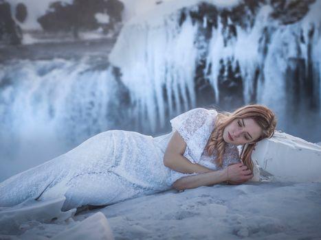 girl, model, dress, Iceland, waterfall, ice, winter, frost