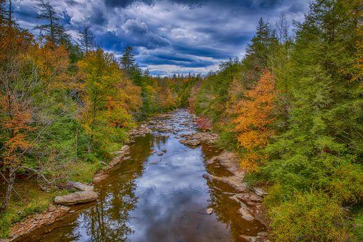 Black Water Falls State Park, West Virginia, river, autumn, trees, landscape