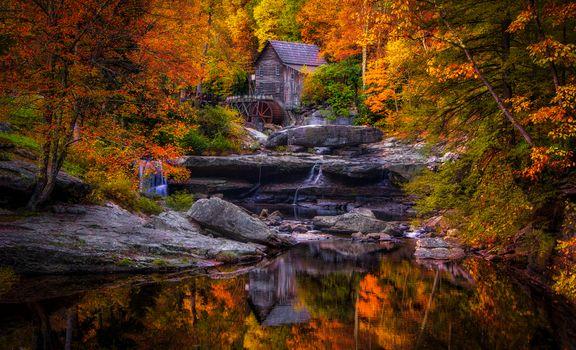 Glade Creek Grist Mill, West Virginia, water mill, waterfall, Rocks, landscape