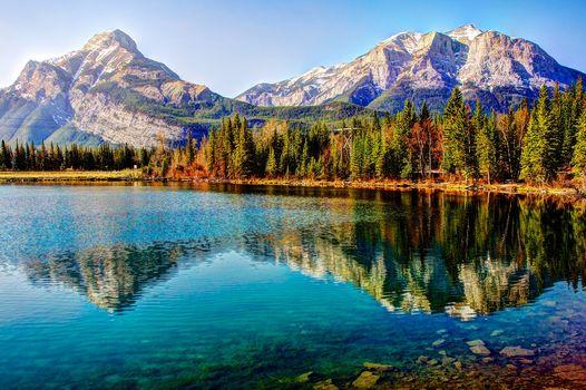 lake, Mountains, trees, landscape